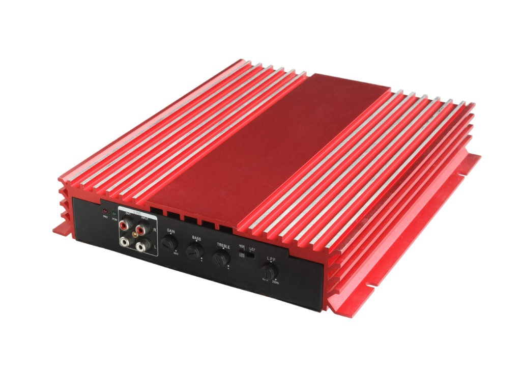 One of the best 5-channel amplifiers against a white background.