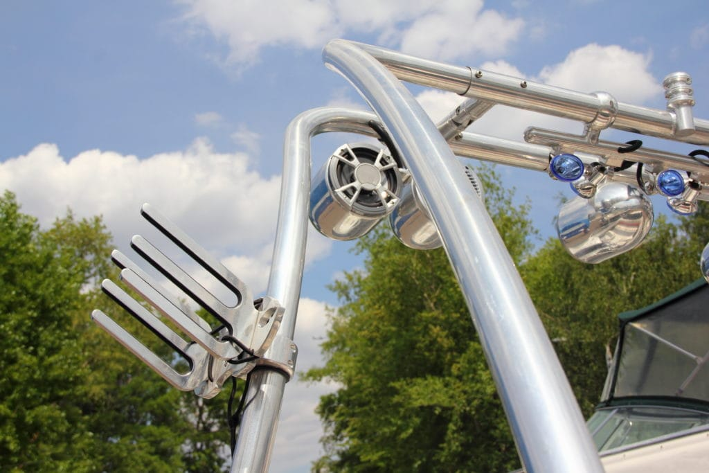 Picture of a wakeboard tower with one of the best wakeboard tower speakers mounted to it.