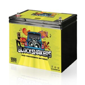 Yellow Blockshakers Car Audio Batery against a white background.