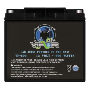 Black Mighty Max Viper car audio battery against white background.