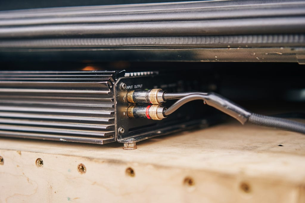 Picture of monoblock amplifier being worked on.