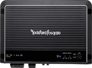 Black Rockford Fosgate monoblock amplifier.