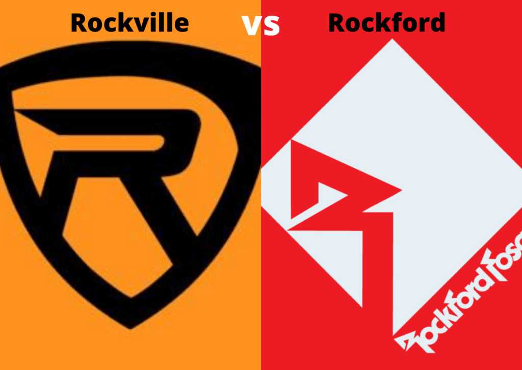 Black Rockville audio log next to a white Rockford Fosgate logo.
