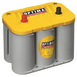 Optima D34 Yellowtop car audio battery against a white background.