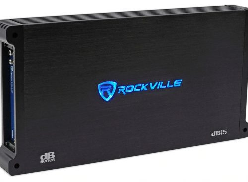Black rockville audio db15 amplifier with bass boost remote switch.